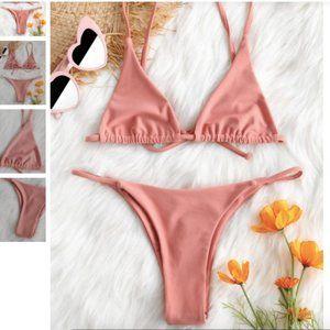 Zaful Bralette String Bikini Set Pink